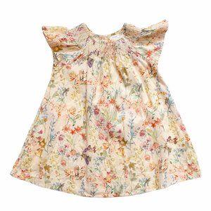 NEXT Peach Floral Print Flutter Sleeve Dress